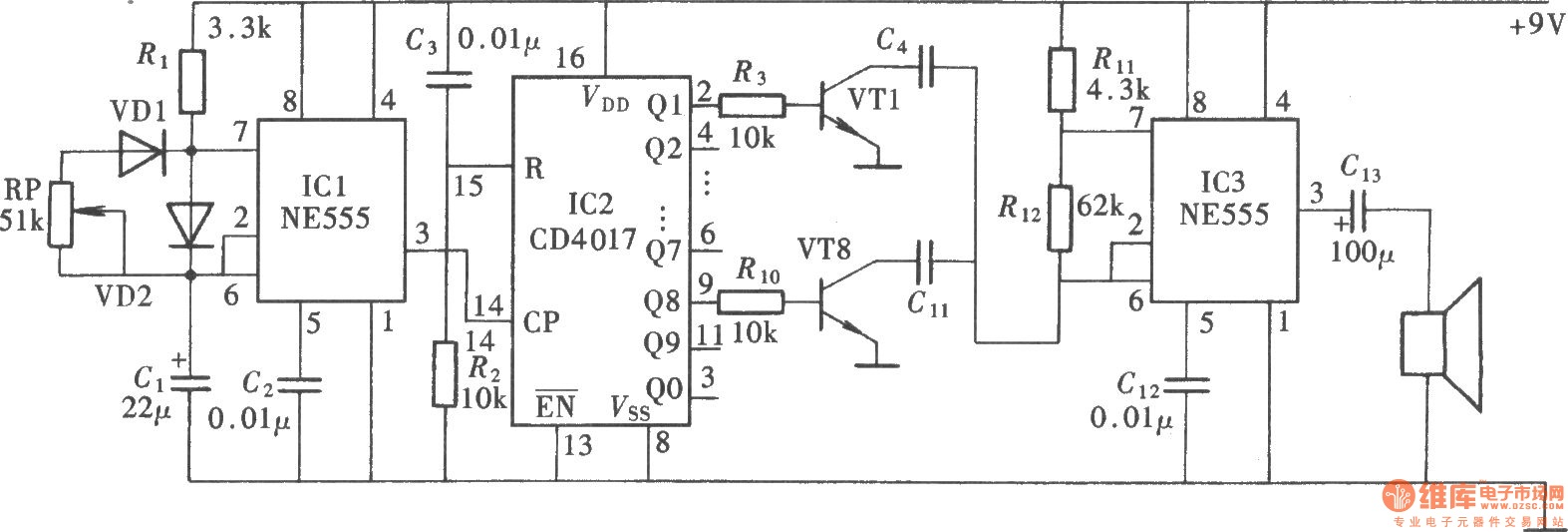 New Circuits Page 137 Two Tone Alarm Generator Using Lm3900 Special Sound Audio Oscillator Circuitne555 Cd4017