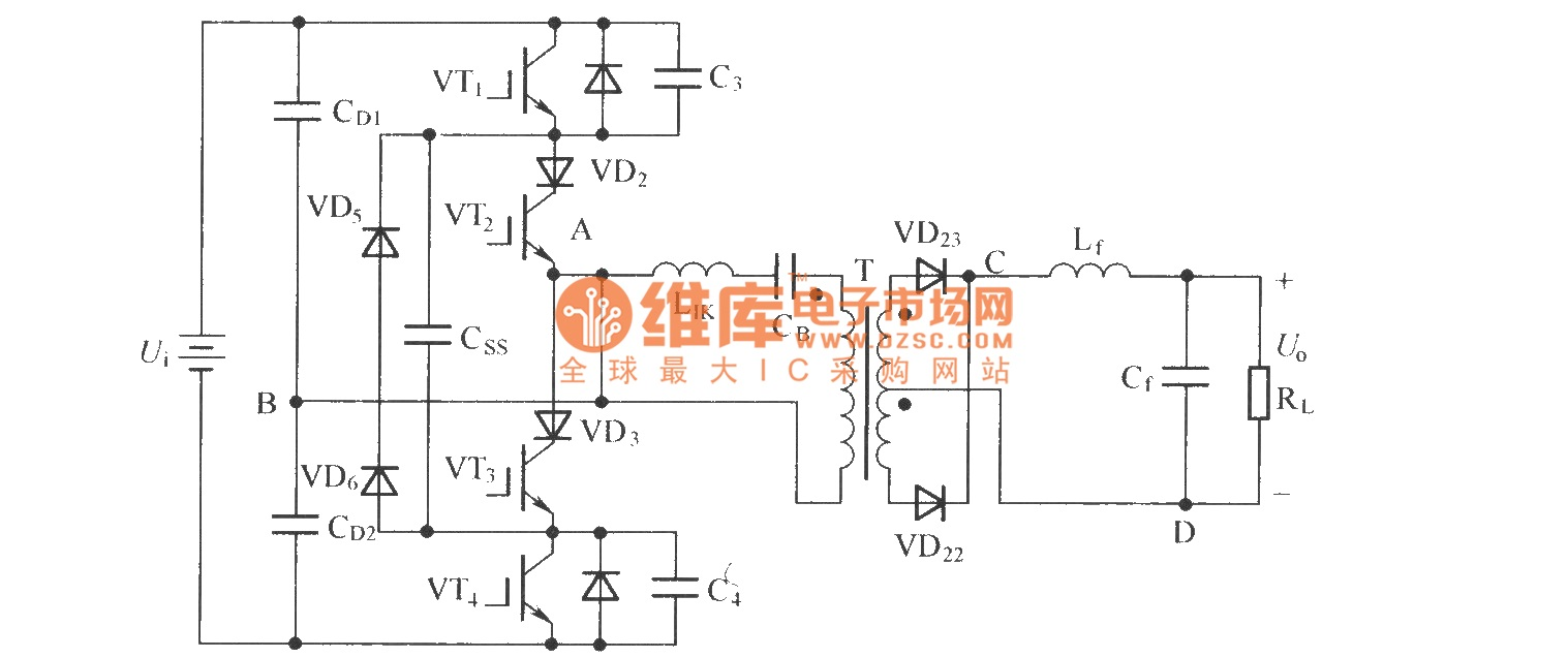 Zero-voltage zero-current switch three-level DC converter - schematic