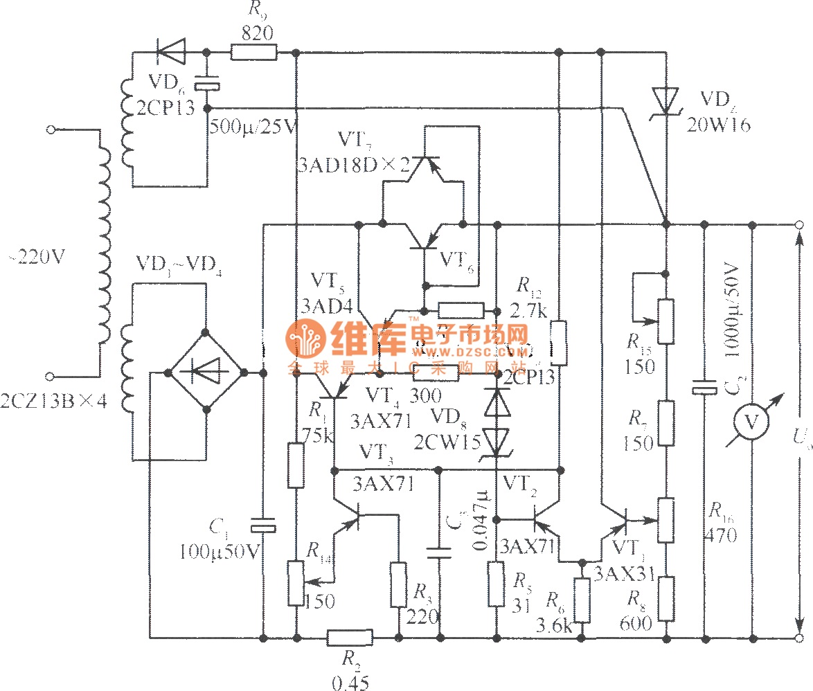 24V regulated power supply circuit with current limiting protection - schematic