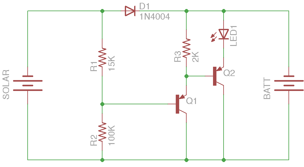 Solar Charging and Switching Circuit for Outdoor Sculpture Installation - schematic