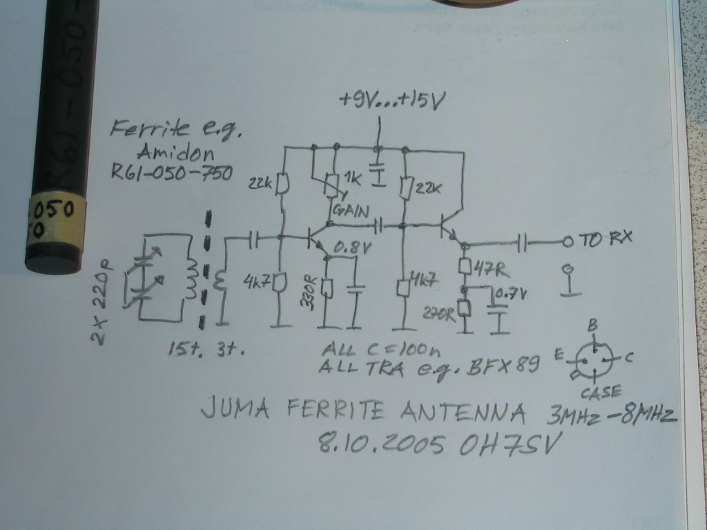 Active ferrite rod antenna for HF - schematic