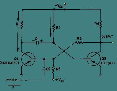 Monostable Multivibrator - schematic