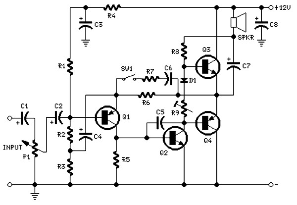 2 watt amplifier schematic diagram
