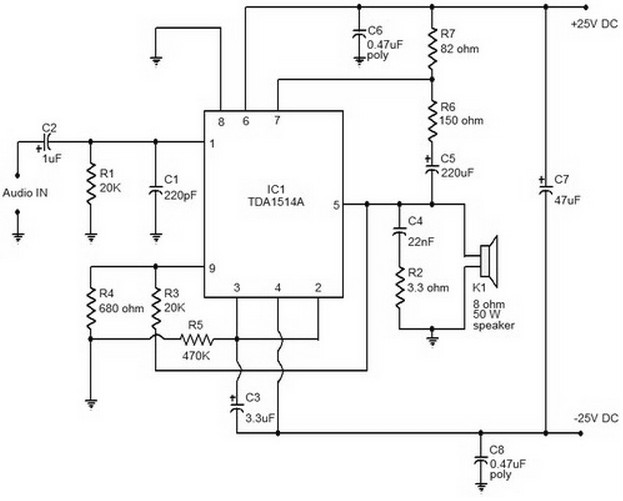 audio amplifier circuit page 12 audio circuits next gr40w audio amplifier based on tda1514 circuit diagram