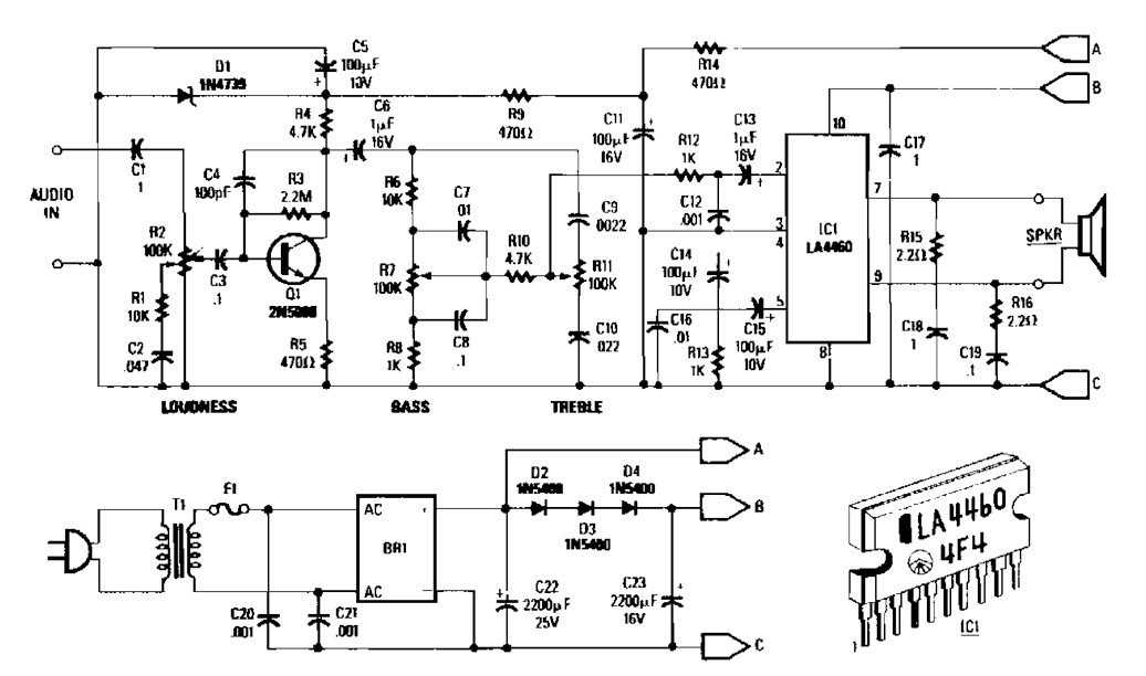 5 watt audio amplifier based la4460 circuit under repository-circuits