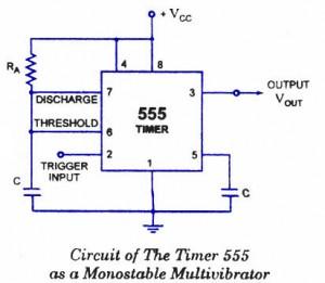 555 Timer as Monostable Multivibrator - schematic