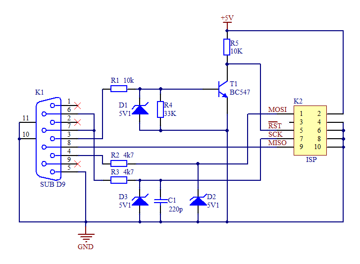Simple Serial Programmer for AVR - schematic