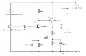 preamplifier for ecm microphone - schematic