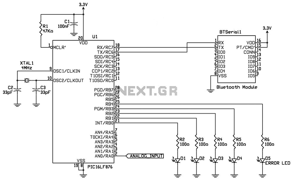 GSM SMS Controller using Bluetooth cellular phone and Bt serial circuit - schematic