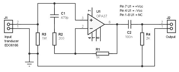 Hydrophone preamplifier circuit - schematic