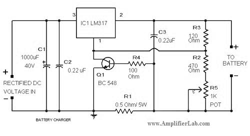 Simple Lead-Acid Battery Charger Circuit - schematic