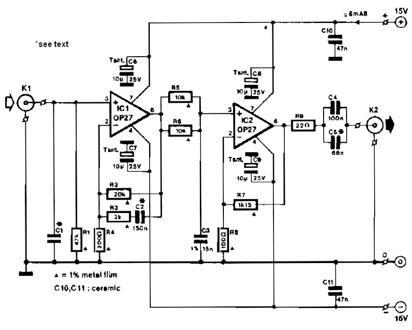 Preamplifier for magnetic phono cartridges schematics - schematic