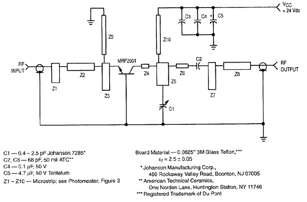 RF amplifier circuit 1W 2.3GHz MRF2001 - schematic
