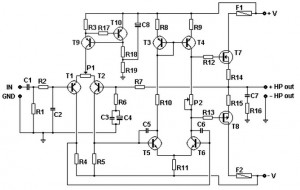 100w basic mosfet amplifier - schematic