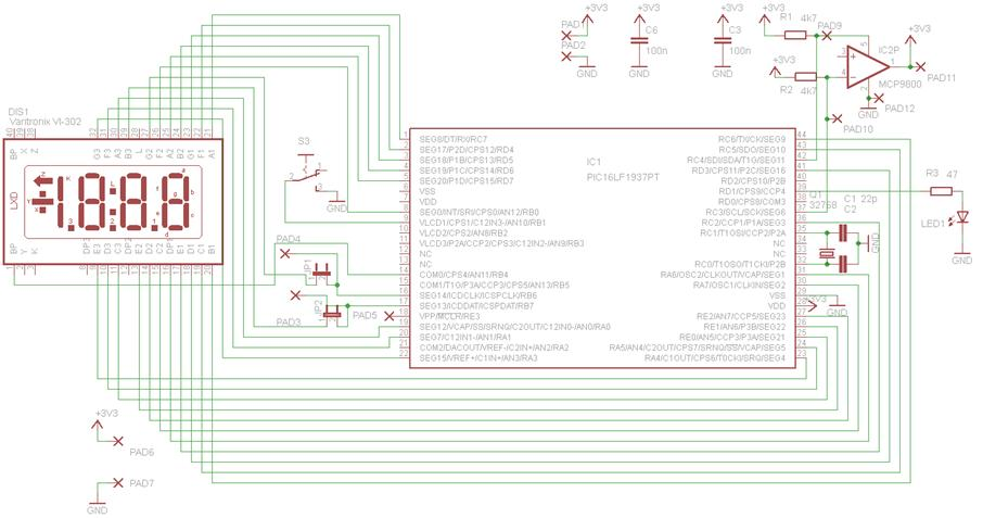 LCD thermometer - schematic