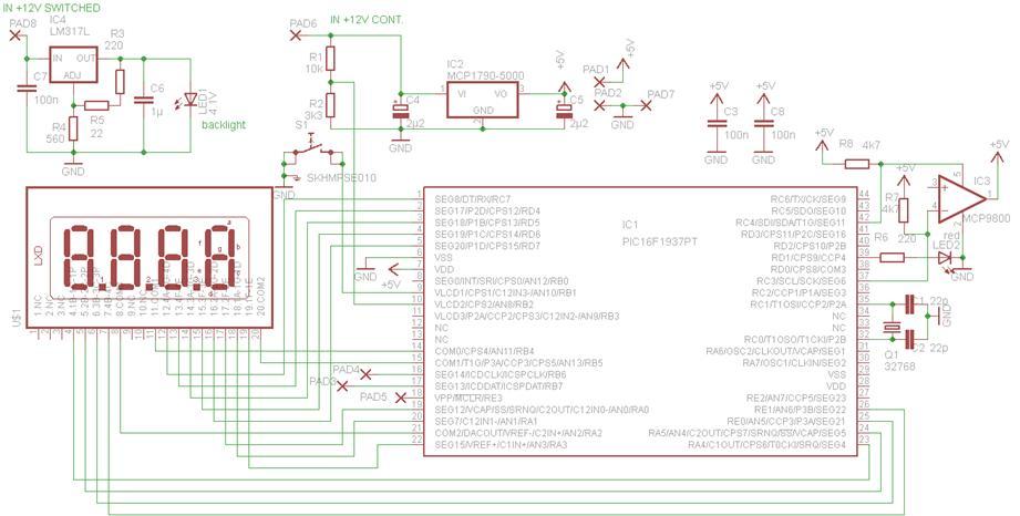 Car clock temp voltmeter - schematic