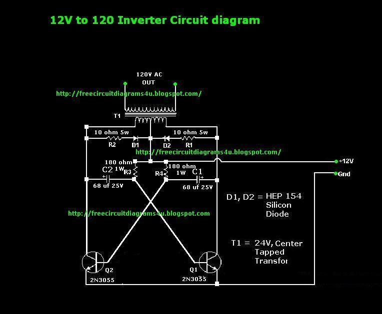 12V to 120V Inverter circuit diagram - schematic