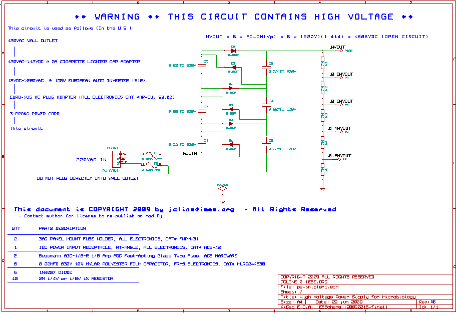 Low Cost High Voltage Power Supply - schematic