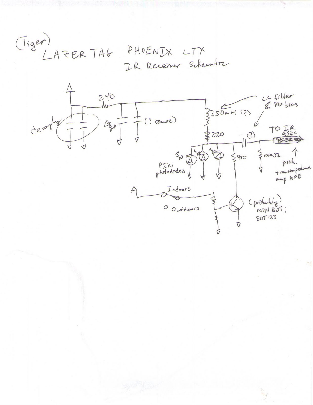 Lazer Tag Infrared Receivers - schematic
