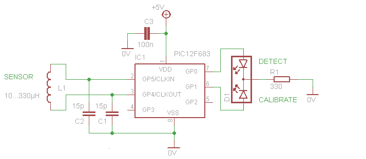 pic12f683 microcontroller based metal - schematic