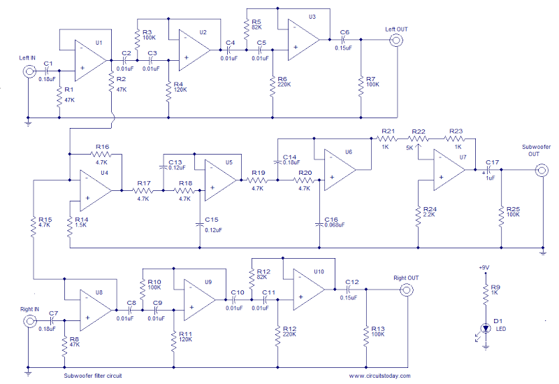 Subwoofer Filter circuit and explnation - schematic