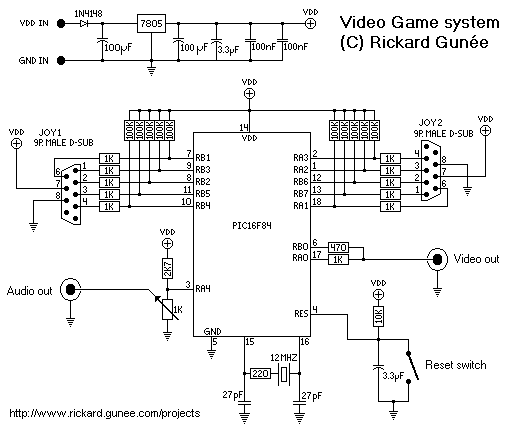 PIC 16F84 Tetris Video Game - schematic