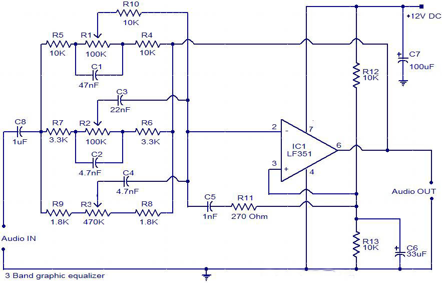 Simple Graphic Equalizer Circuit - schematic