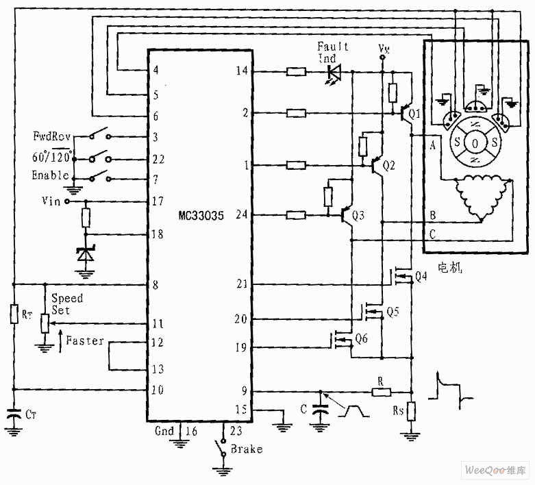 circuits three phase and six step motor control