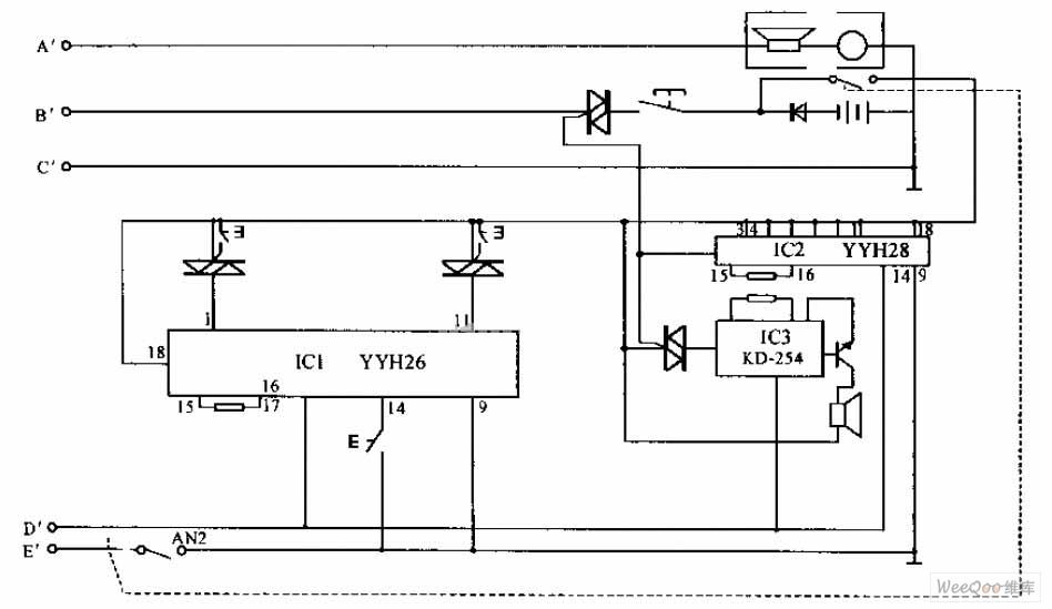 Internal telephone circuit - schematic