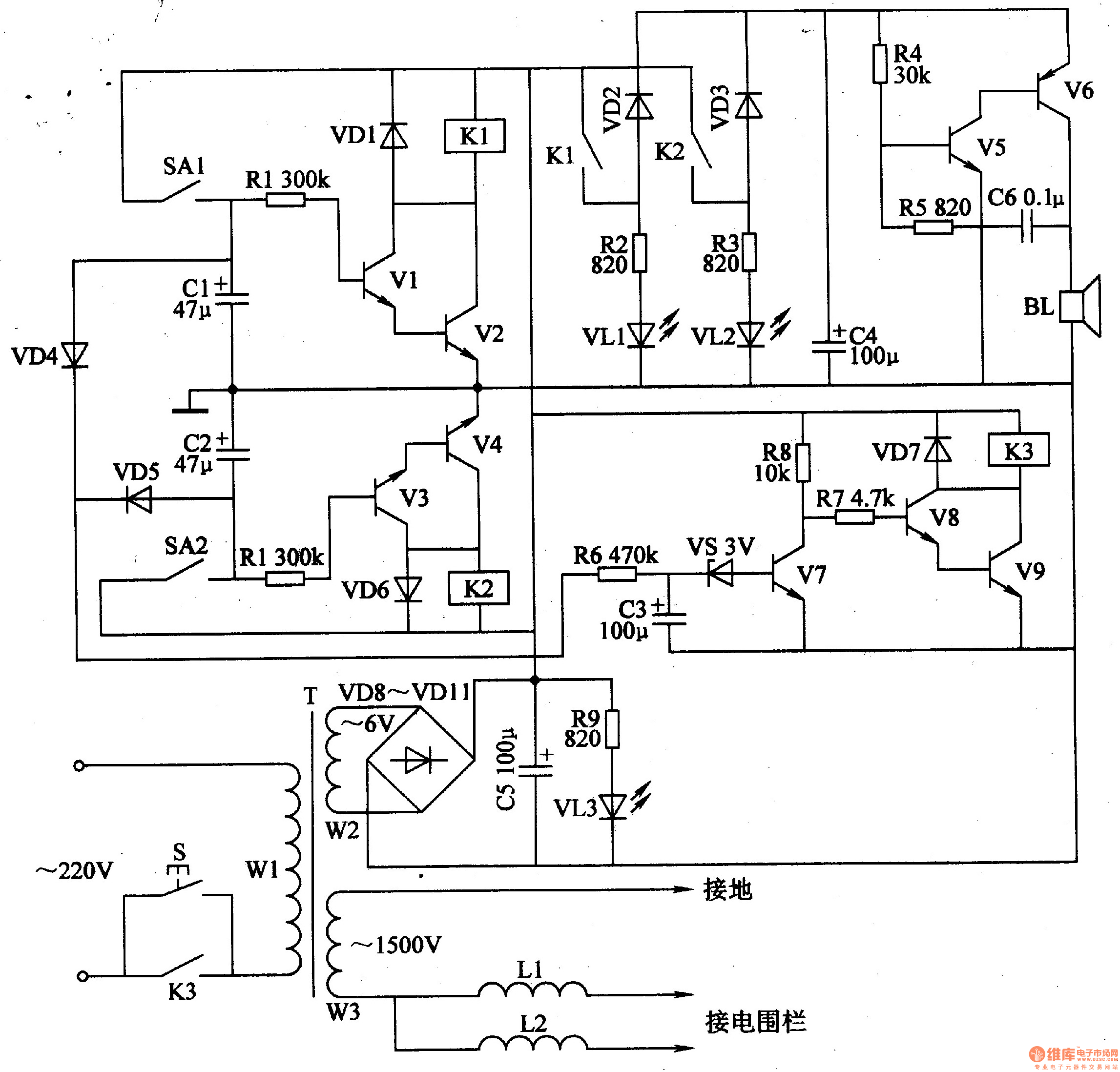 New Circuits Page 67 2n2907 In The Reverse Unit Project Schematic Circuit Diagram And Datasheet Electric Fence Control 5