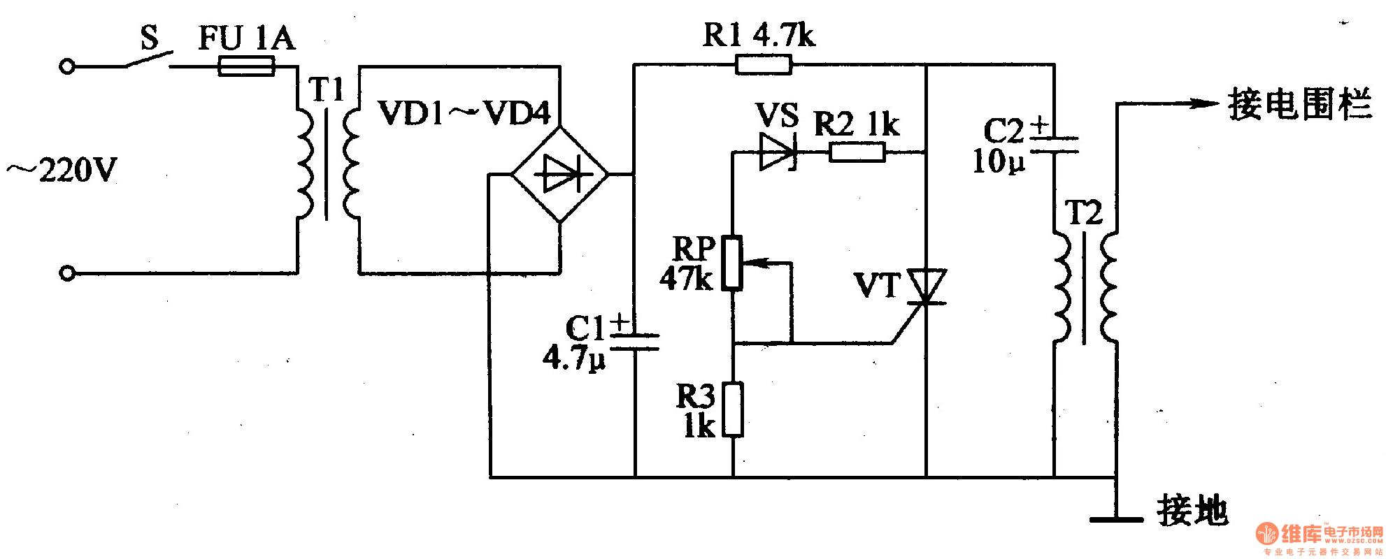 fence charger schematic