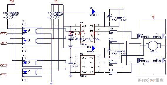 Using IRFP250 power tube H-bridge motor drive circuit - schematic