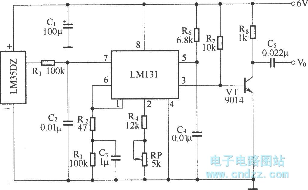 temperature detection voltage-frequency switch circuit - schematic