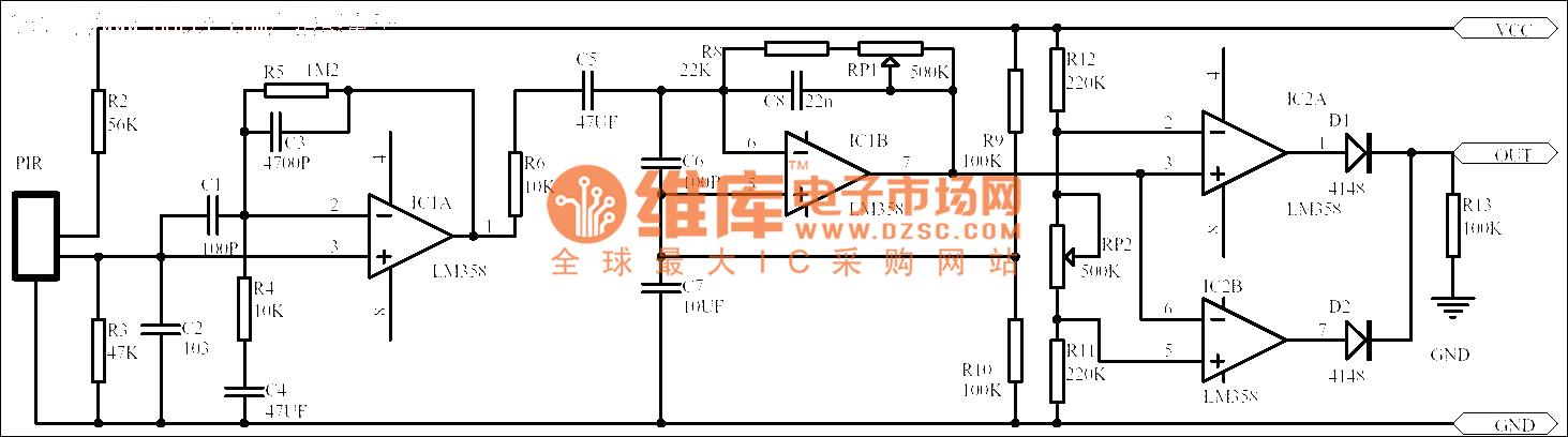 The passive human body infrared sensor circuit - schematic
