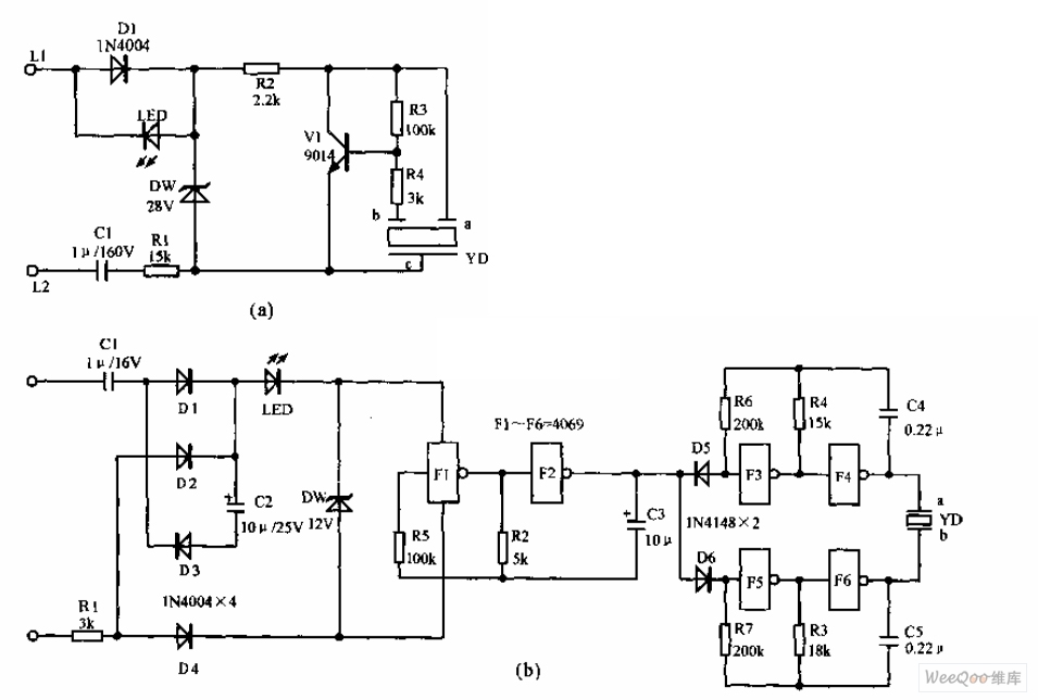 Telephone electronic ringer circuit - schematic
