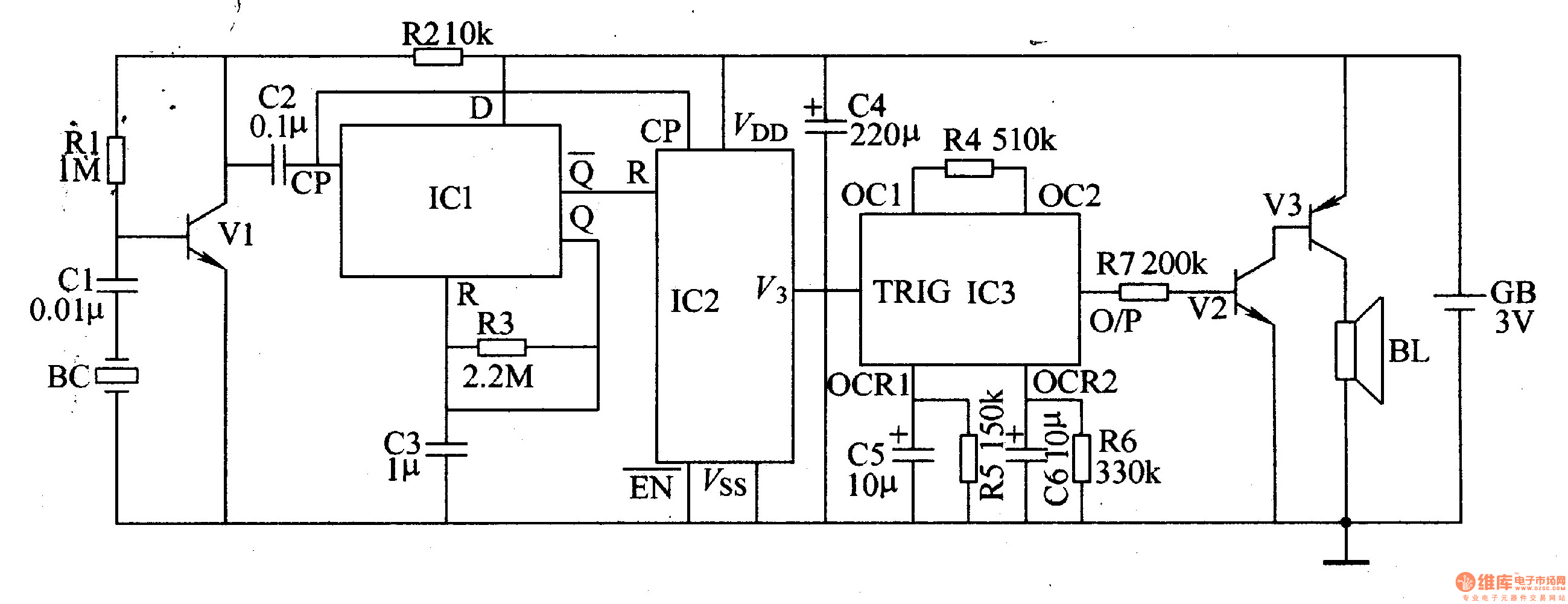 Percussion electronic doorbell 1 - schematic