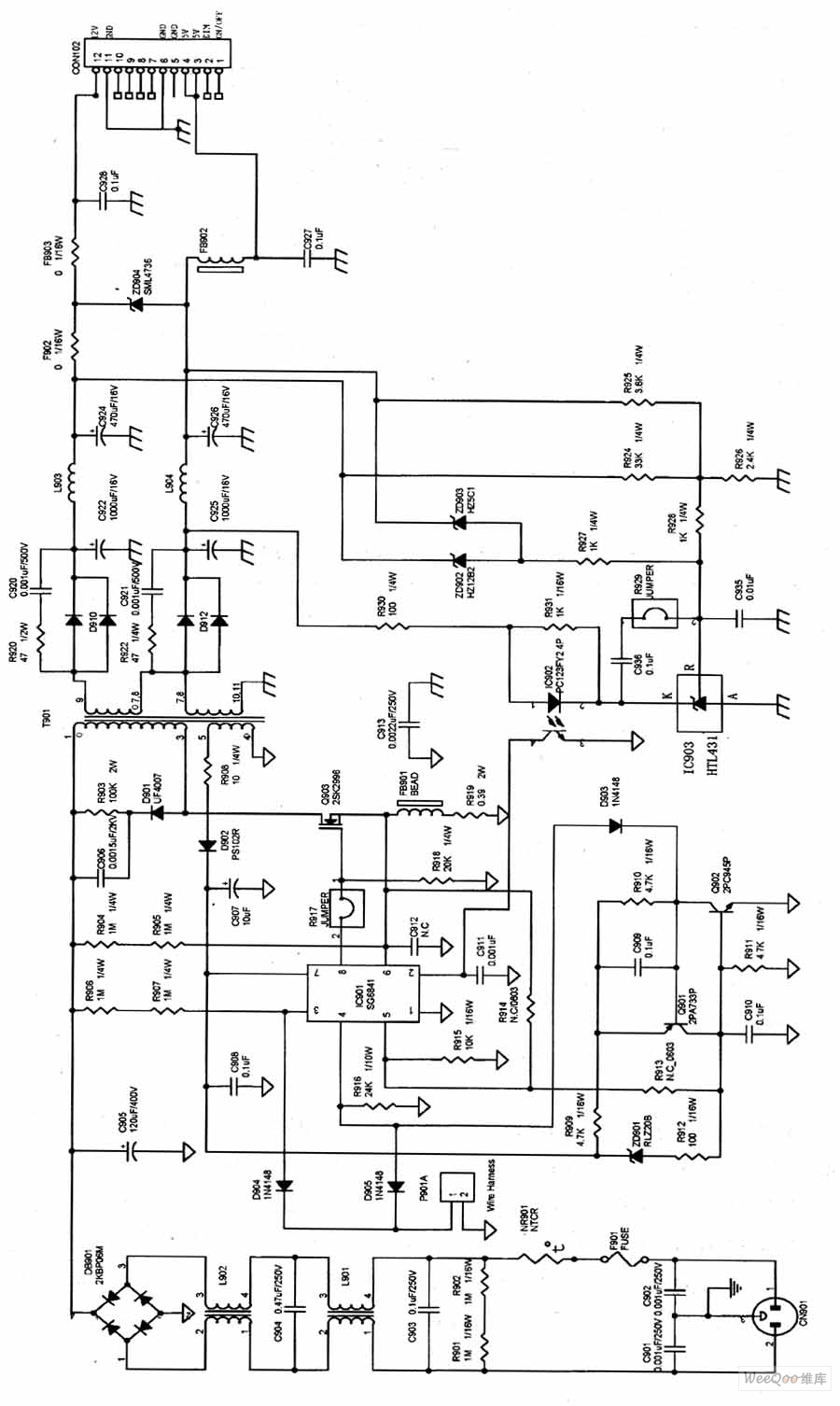 aoc lm729 lcd switch power supply circuit diagram under