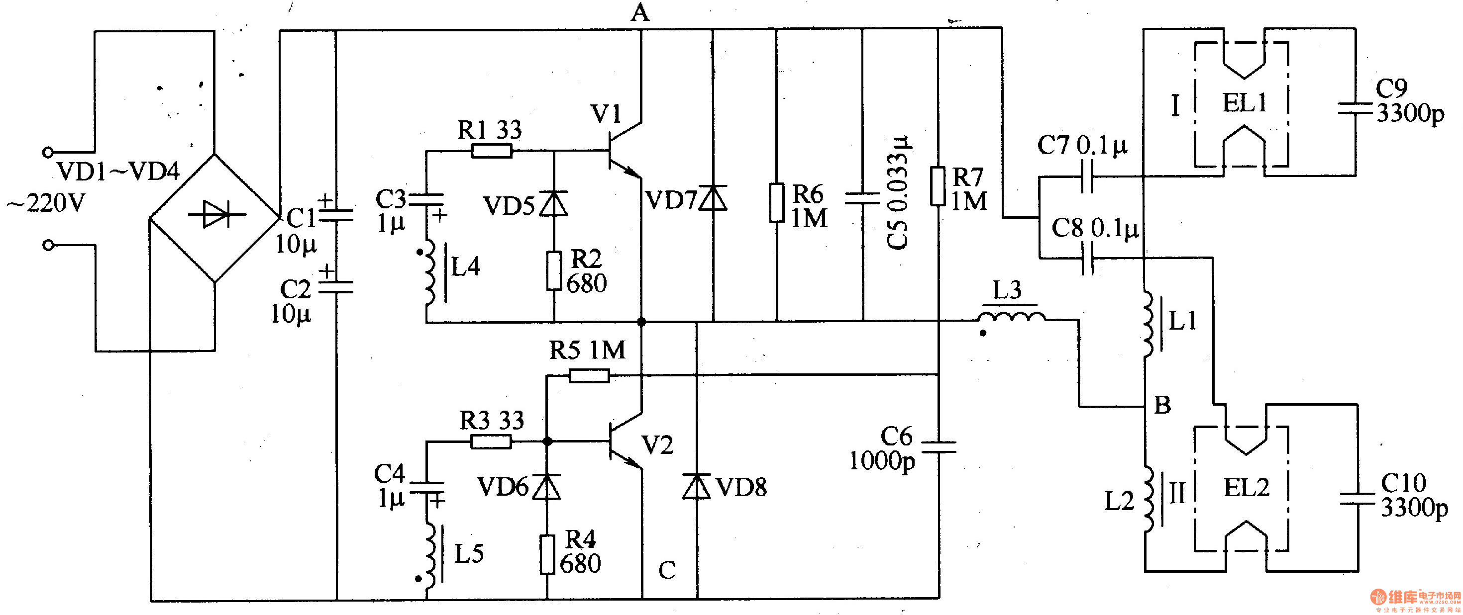 Wiring Diagram Of A Fluorescent Light Ballast : Gt circuits fluorescent lamp electronic ballast l