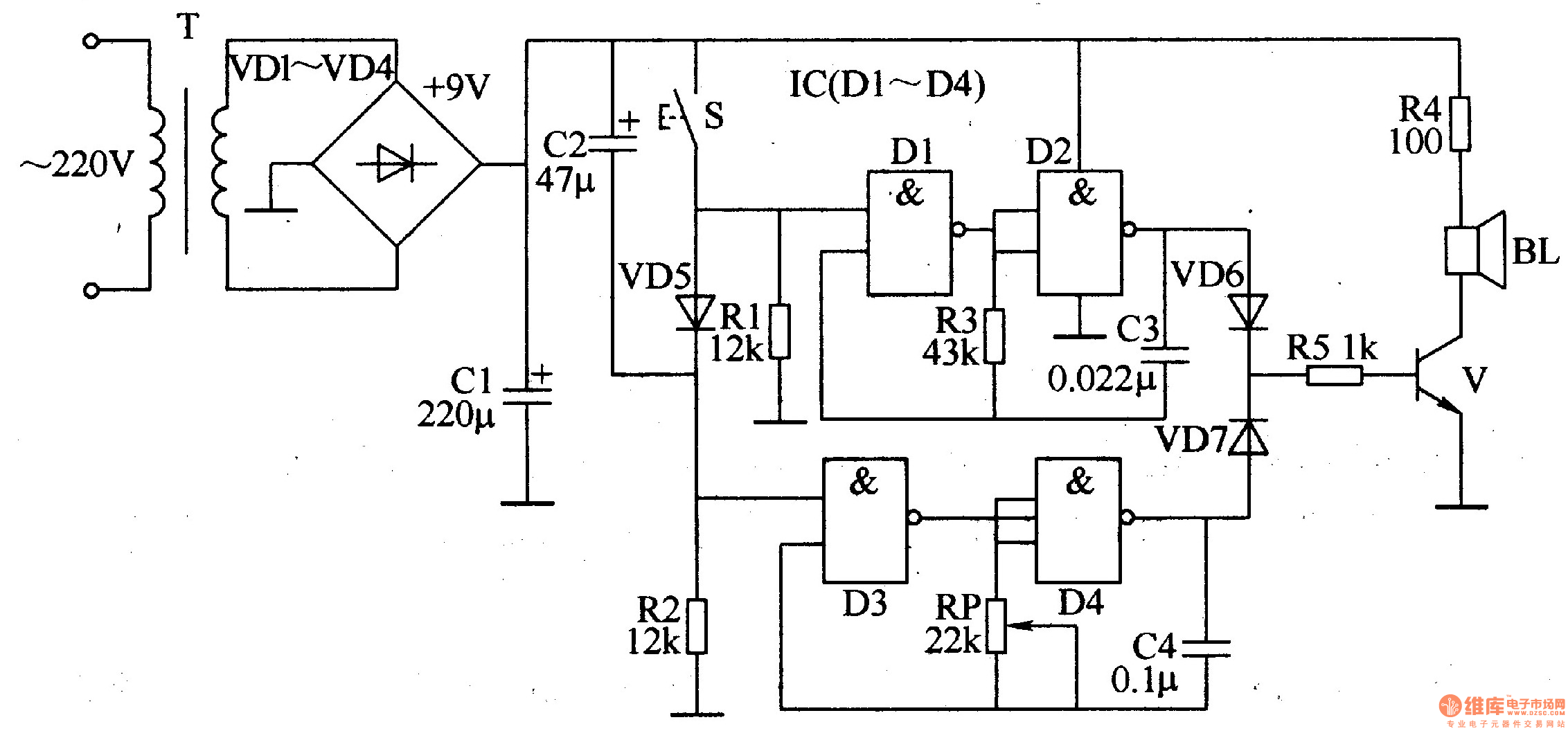 Doorbell Circuit Page 3 Other Circuits Electric Bell Relay Ding Dong Electronic