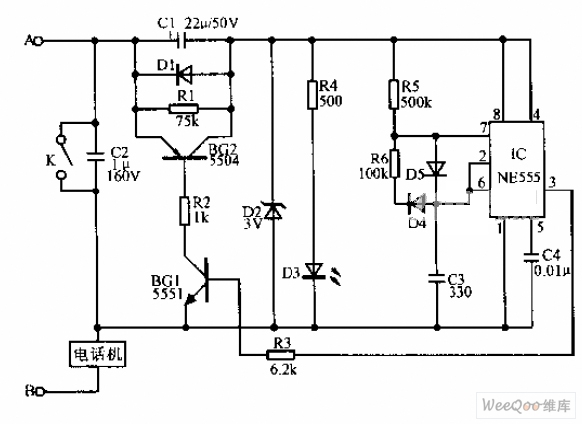 Simple telephone time lock circuit diagram - schematic