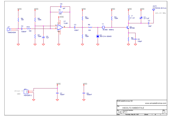 spy transmitter circuit - schematic