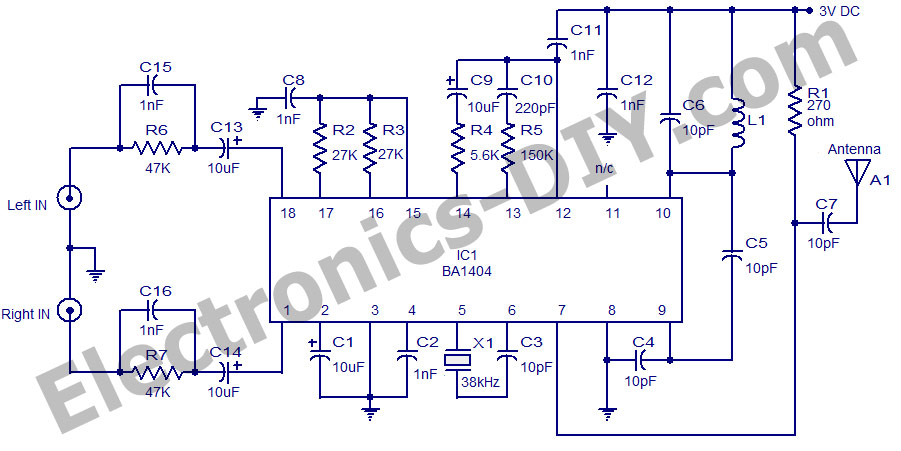 Stereo FM Transmitter Using BA1404 - schematic