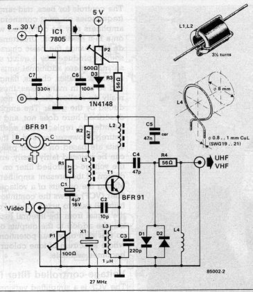 VHF/UHF TV Modulator - schematic