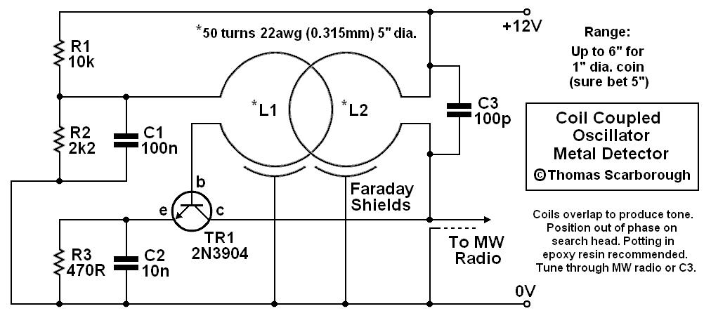Coil Coupled Operation Metal Detector - schematic