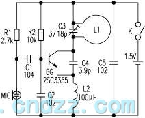 Simple long-distance wireless FM microphone circuit - schematic