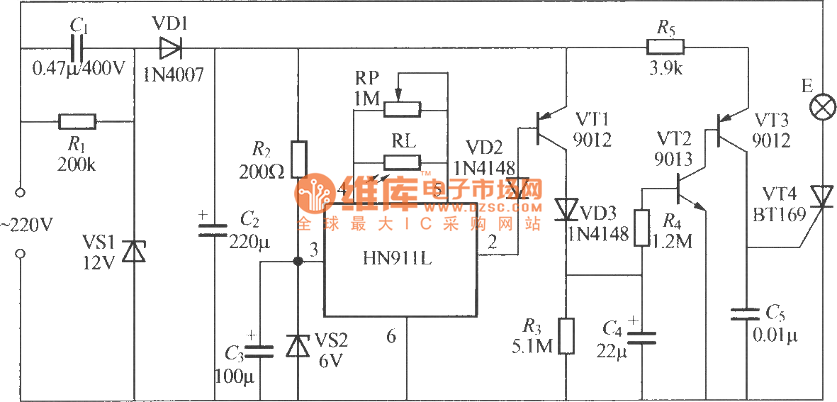 Thermal pyroelectric infrared sensing automatic light circuit (6) - schematic