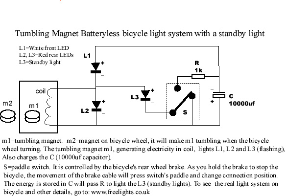 Free Energy Bicycle Generator With Flashing Light Circuit Electronic