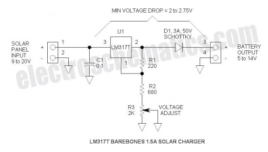 Solar Battery Charger Circuits - schematic