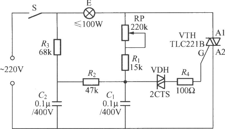 TRIAC dimmer light circuit with dual time constant - schematic