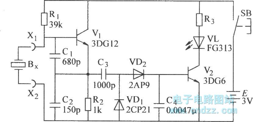 The quartz crystal oscillator test circuit diagram - schematic